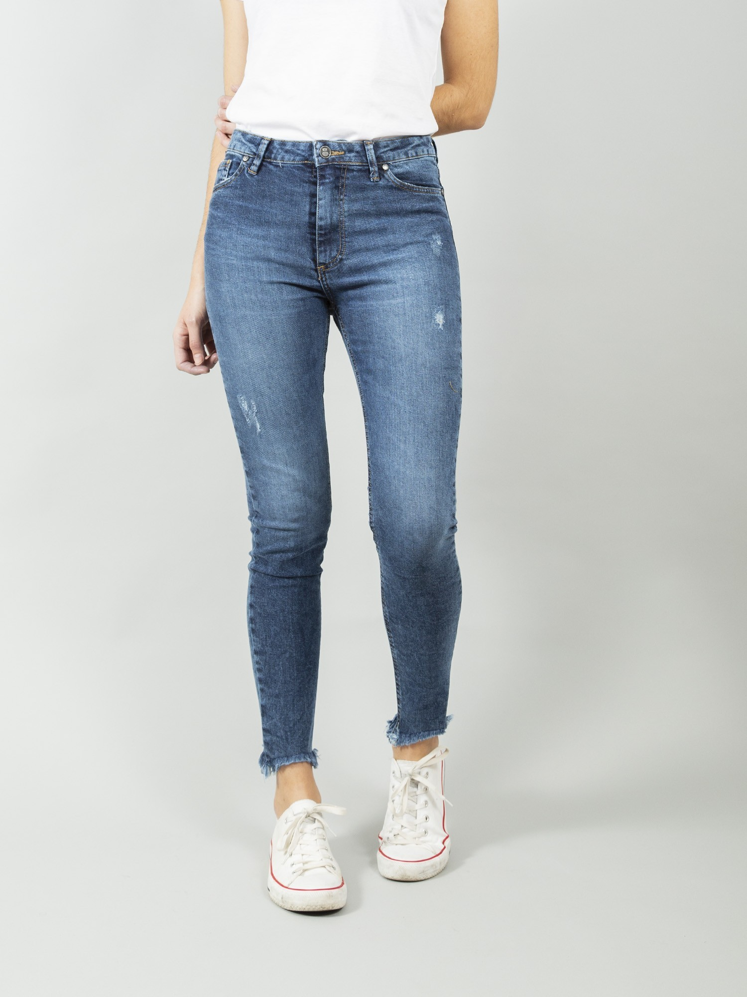 DENVER RETRO MID CROPPED BLUE ECO RECYCLED COTTON Skinny Denim