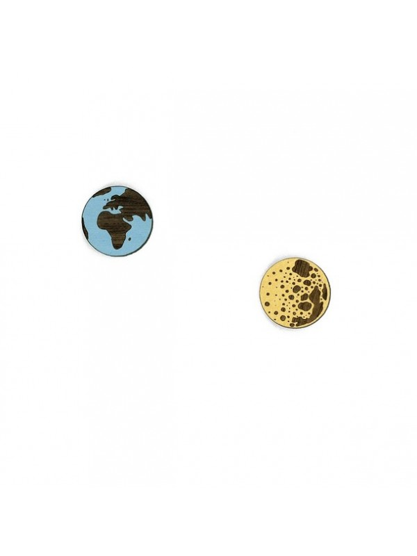 Wood Hood Earth & Moon Pendientes