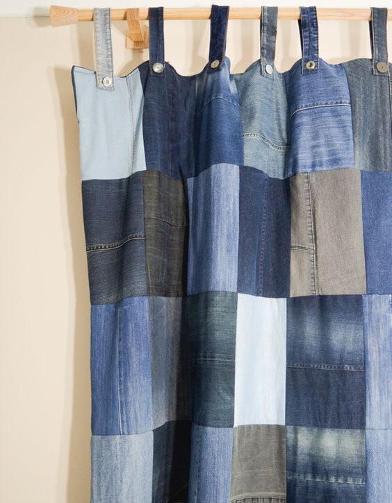 Denim curtain.