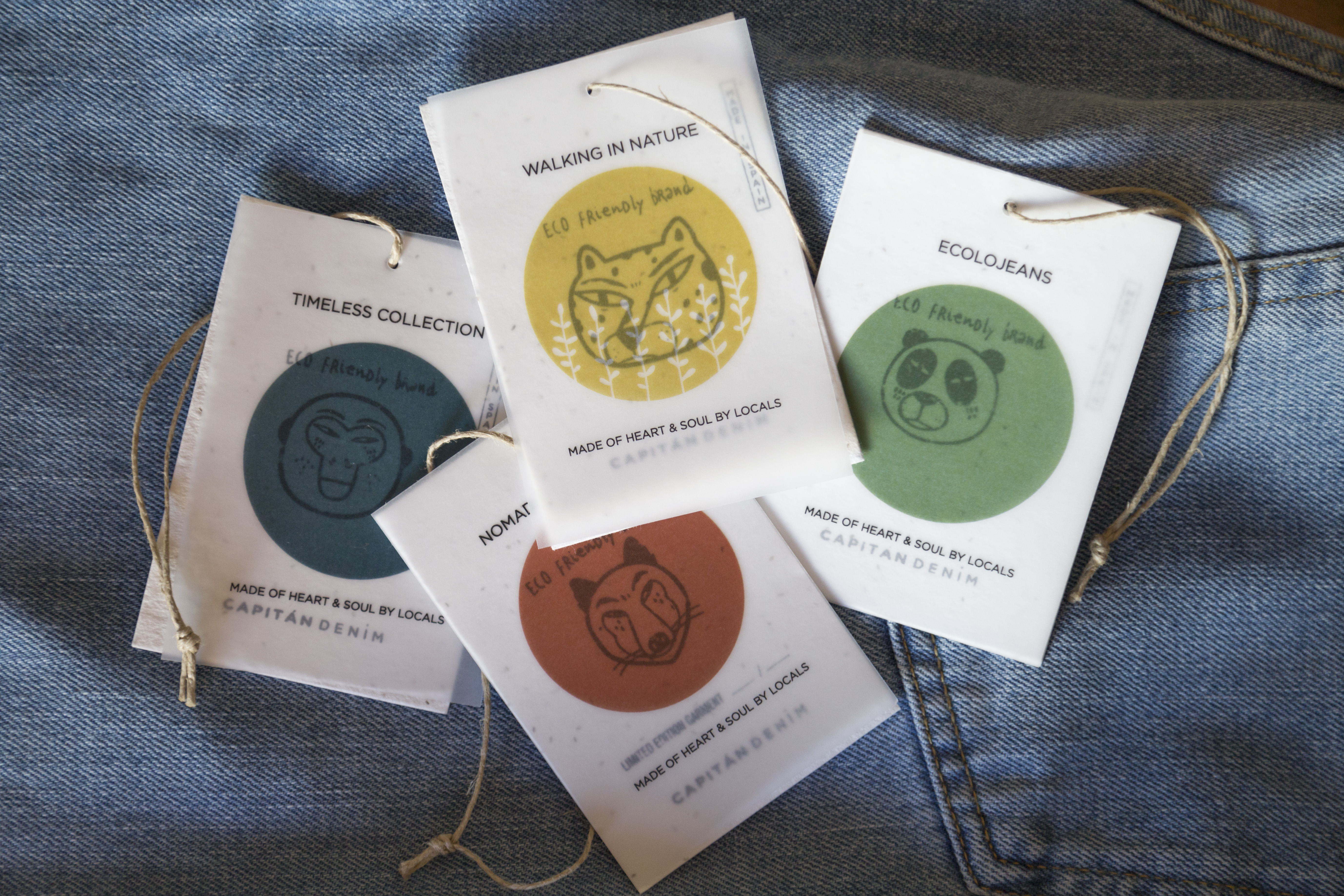 Capitan Denim green labels.